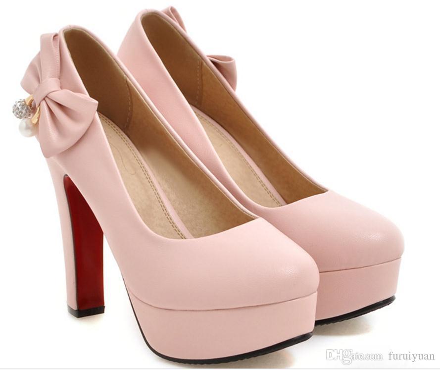 Бесплатно отправить горячие туфли на высоком каблуке 44 45 46 47 ярдов грубый каблук одноместный обувь бантом дрель женская обувь большой размер и небольшой код