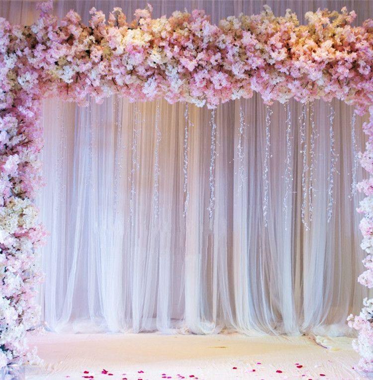 3m * 3m (10ft x 10ft) Hochzeits-Party-Bühne Feier Hintergrund Satin-Vorhang Drapier-Säule Deckenkulisse Ehe Dekoration Schleier