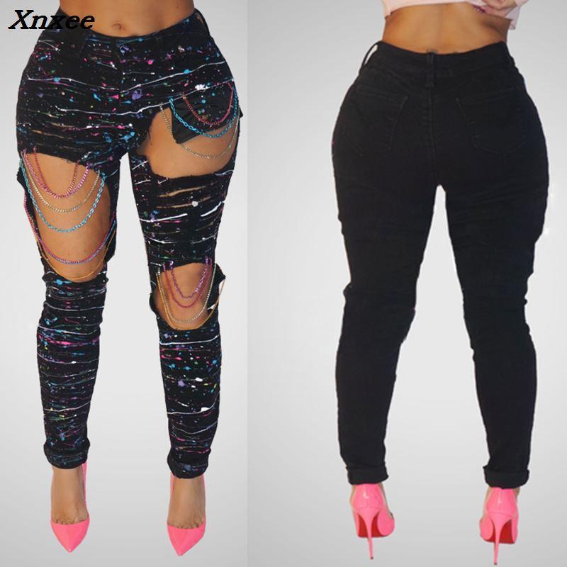 New Sexy Jeans avec Trous Couleur Peinture Couleur Chaînes Ripped Jeans Femme Trous Denim Pantalon Beggar Pants pour Femmes Plus La Taille
