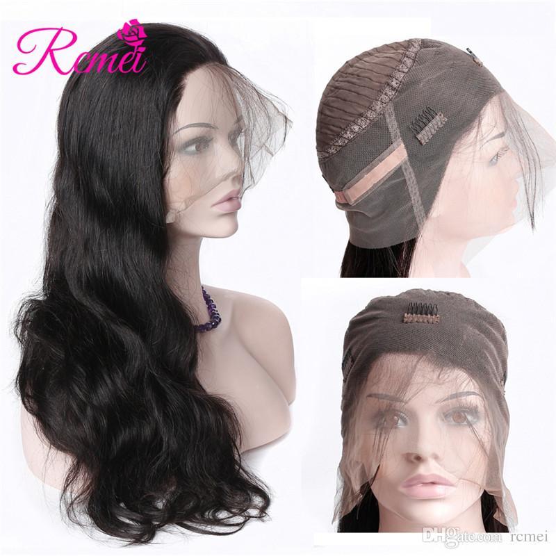 Rcmei Hair Brasileño Onda del cuerpo Pelucas de cabello humano Con rayita natural 360 Pelucas frontales de encaje Pre desplumadas 150 Densidad 360 Frontal de encaje
