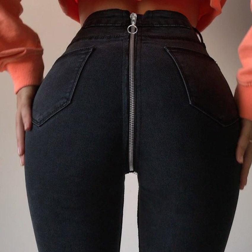 Retro Voltar Zipper Jeans Mulheres cintura alta Black Denim Calças Jeans Skinny Clube Butty elevação Pants Sexy para Mulheres