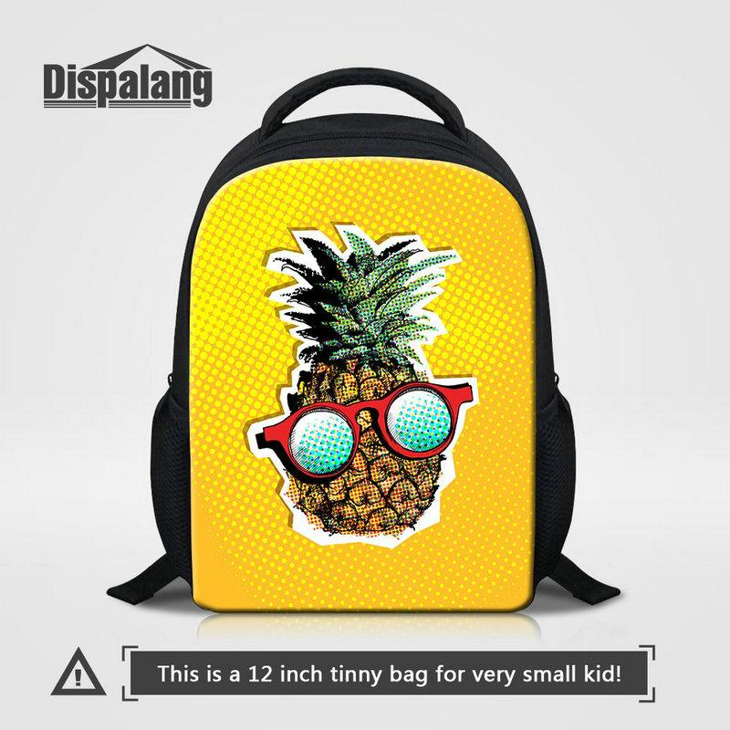 Unique Design Cartton Pineapple Fruit Printed School Backpack For Little Girls Stylish Book Bags 12 Inch Small Bagpack Toddler Kids Rucksack