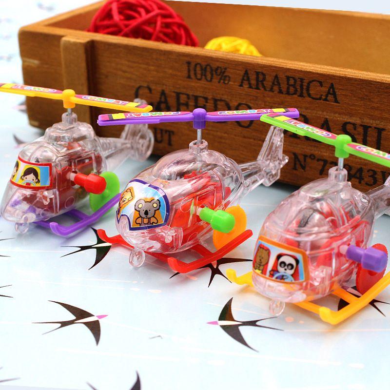 새로운 재미 미니 권선 투명 작은 항공기 봄 장난감 고전 야외 시계 공사 항공기 바람 위로 장난감 선물