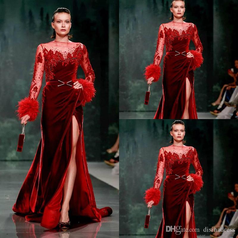 2019 Red Mermaid Evening Dresses Luxury Beaded Feather Split Prom Dress Velvet Long Sleeve Evening Gowns Luxury Formal Dress Party Wear