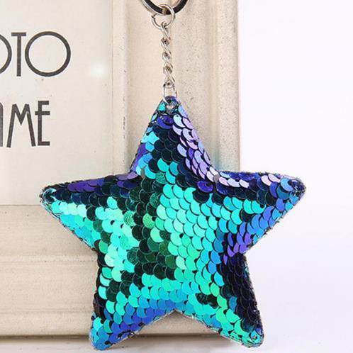 Cute Star Keychain Glitter Pompom Sequins Key Ring Gifts for Women Llaveros Mujer Charms Car Bag Accessories Key Chain c774