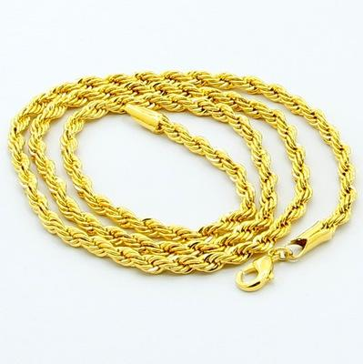 Cheap 24K Gold Plated Necklace 3mm 4mm 5mm Chain Twist Rope Men Women Chain GF Statement Necklace Jewelry JP899 Christmas Gift