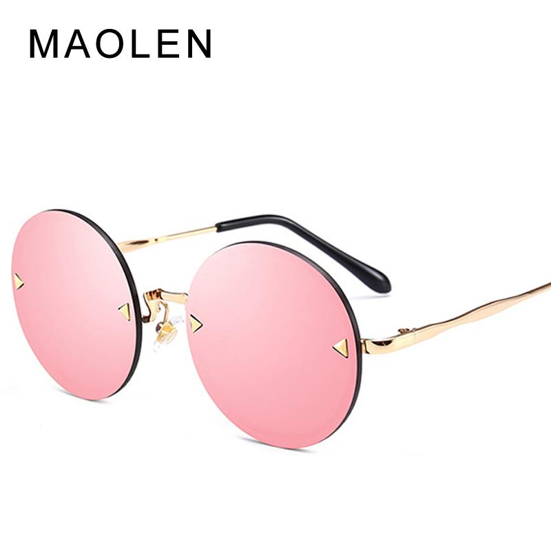 MAOLEN العلامة التجارية المتضخم جولة نظارات شمسية نسائية 2018 Oculos الظل الإطار ريترو السهم مرآة نظارات شمسية Gafas دي سول موهير