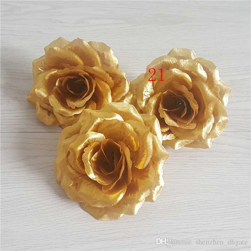 10cm Ivory Artificial Flowers Silk Rose Head Diy Decor Vine Flower Wall Wedding Party Decoration Gold Artificial Flowers For Decor