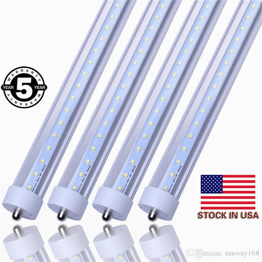 Stock aux Etats-Unis 8ft 45W Tube LED T8 lumières FA8 simple Pin SMD2835 4800LM super lumineux LED lampes fluorescentes AC85-265V Livraison gratuite