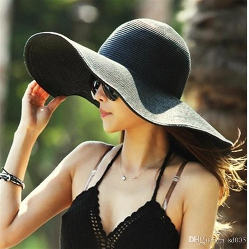 Wide Brim Hats Women Summer Sunshade Sunscreen Foldable Easy Carry Travel Beach Cap Wind Belt Polychromatic Hat 10lx cc