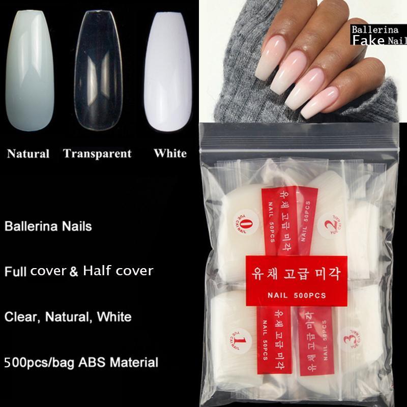 Ballerina Acrylic Nail Tips Sets Coffin Shape Natural Clear Diy Fake Nail Tip Salon Decorated Long Full Cover Nails Fake Fake Fingernails Fake Nails