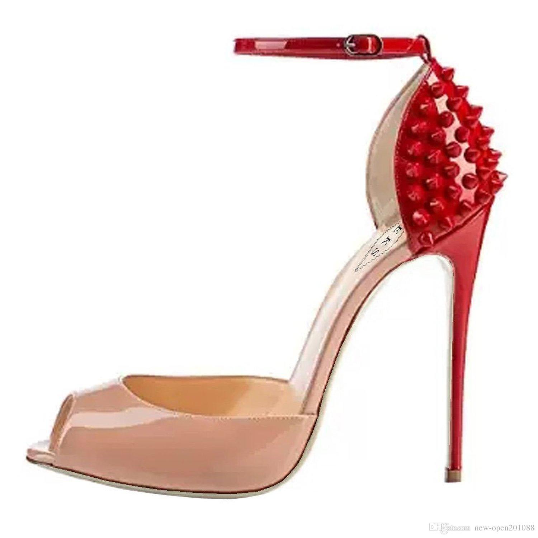 2018 Nuove donne moda Rivetti tacchi alti abito peep toe scarpe sandali tacco alto super size 34 -42