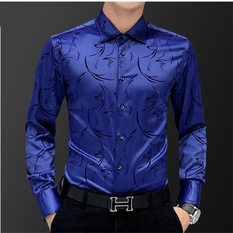 Camisa de manga larga para hombre Camisa de algodón informal para hombres de negocios Camisas de flores de otoño nuevas 5XL
