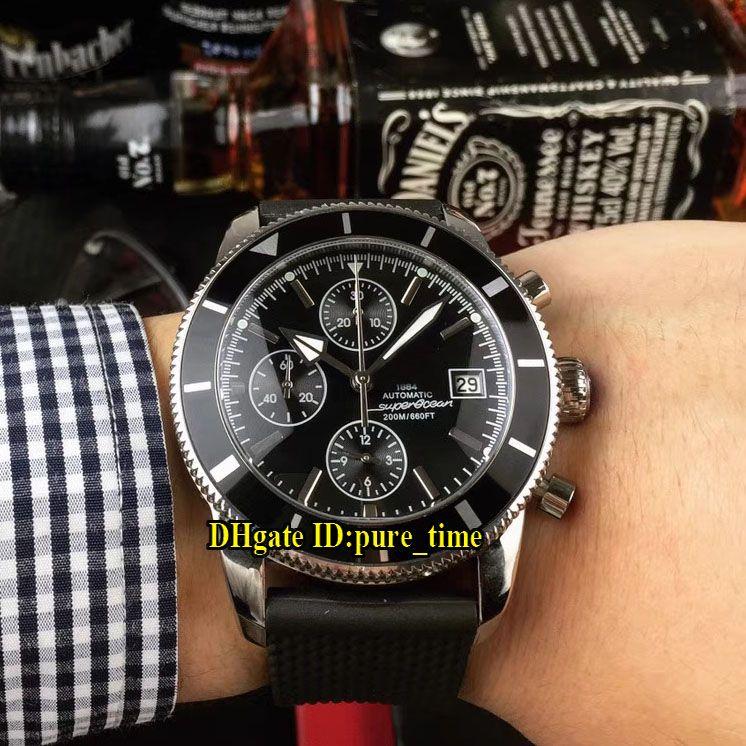 SuperOcean Heritage 43mm A1331212 BF78 256S A20D. 2 черный циферблат Япония Miyota Кварцевый хронограф мужские часы серебряный корпус резиновый ремешок часы
