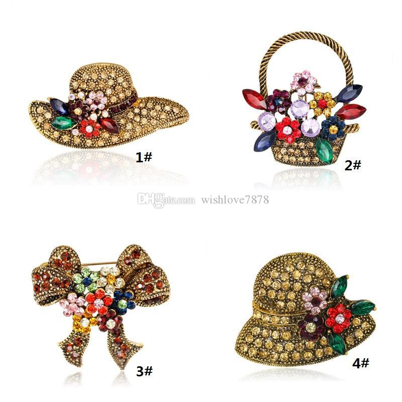 Crysal Hat Brooch Pins Hot Sale Personality Bow Flower Basket Booch Pin for Party Fashion Silver Jewelry Wholesale Free Shipping