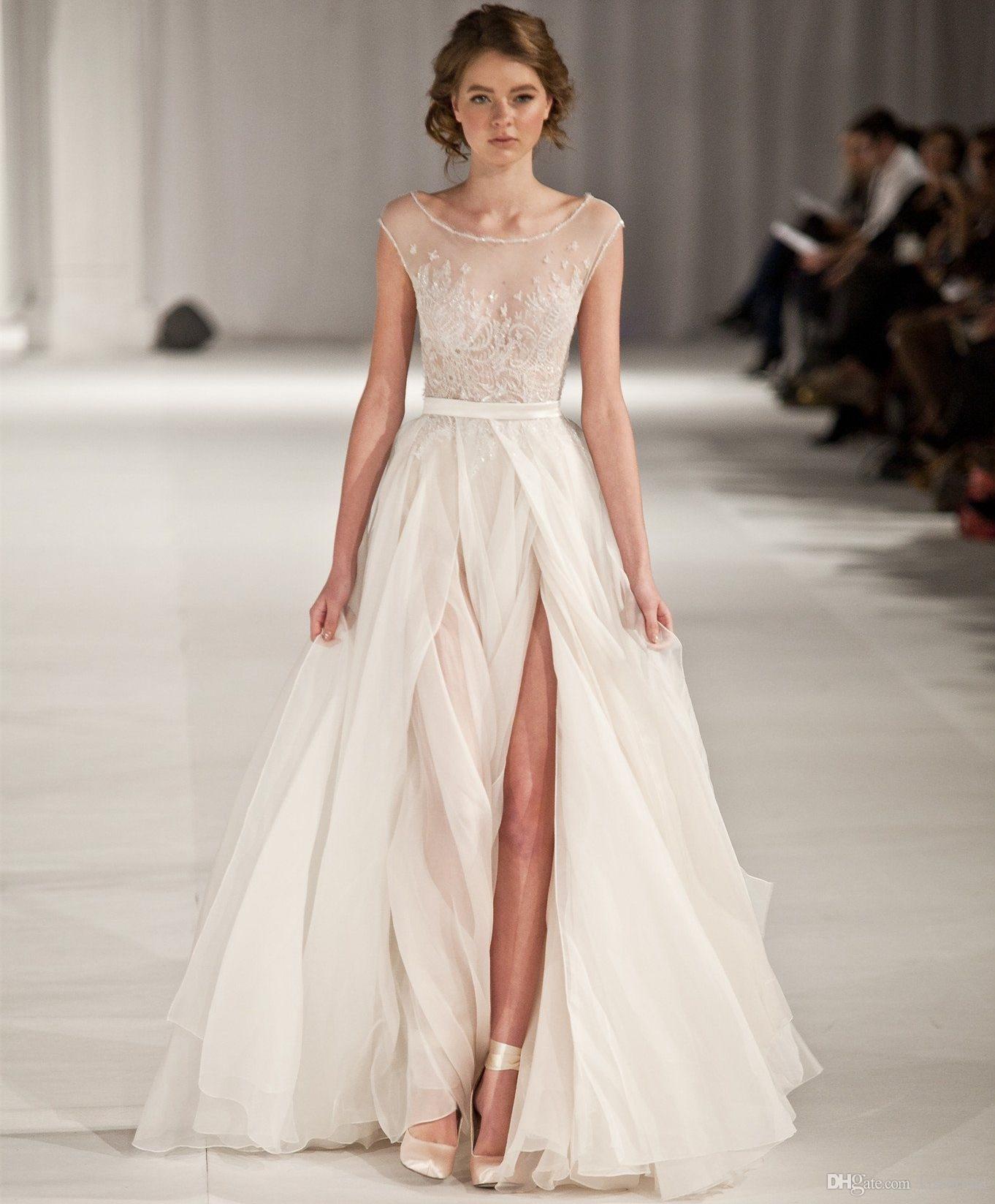 Elie Saab Пром платья Длинные 2019 Line Scoop Шея с коротким рукавом Формальные вечерние платья Sheer Bodice Split Celebrity Red Carpet Dress
