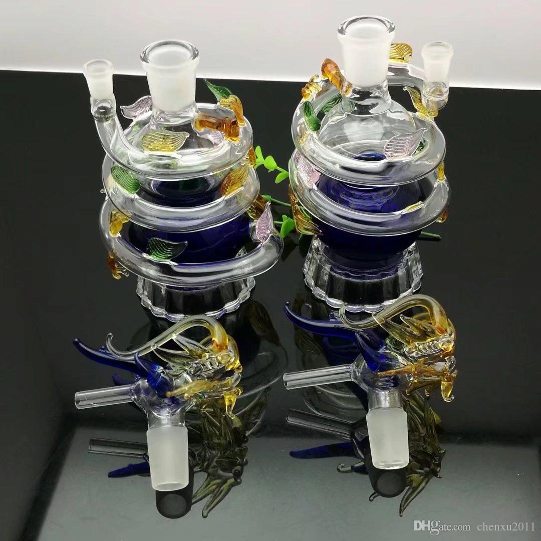 Bouteille d'eau en verre de dragon coloré de vente chaude européenne et américaine