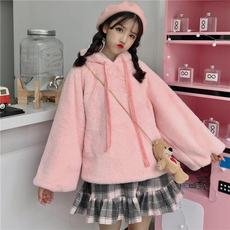 Winter-warmer Plüsch mit Kapuze lose Sweatshirt Japan Weiche Lolita Mädchen Pullover Plus Size koreanische süße Studenten Jumper Kawaii Chaqueta