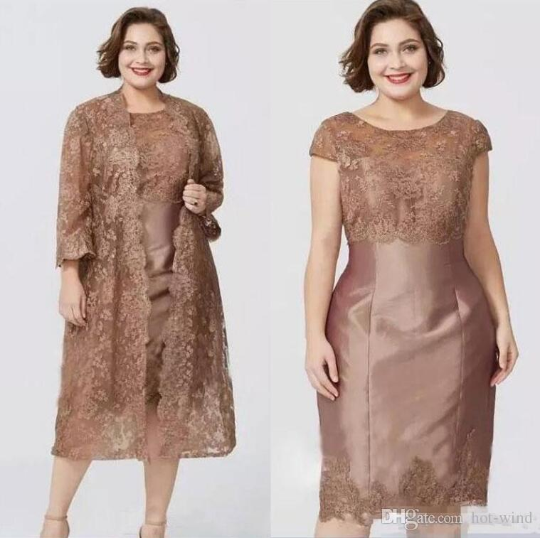 Chic Brown Short Sleeves Sheath Mother's Dresses with Full Lace Jacket Elegant Tea Length Mother of the Bride Dress Custom Made