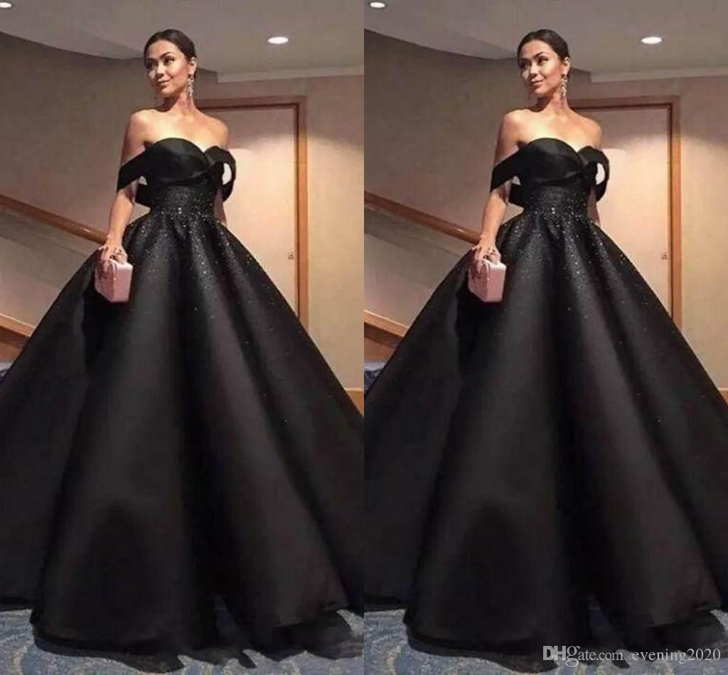 Großhandel 15 Sexy Schwarz Quinceanera Kleider Ballkleid Schulterfrei  Perlen Anlass Kleid Einfach Design Graceful Prom Dresses Von Evening15,