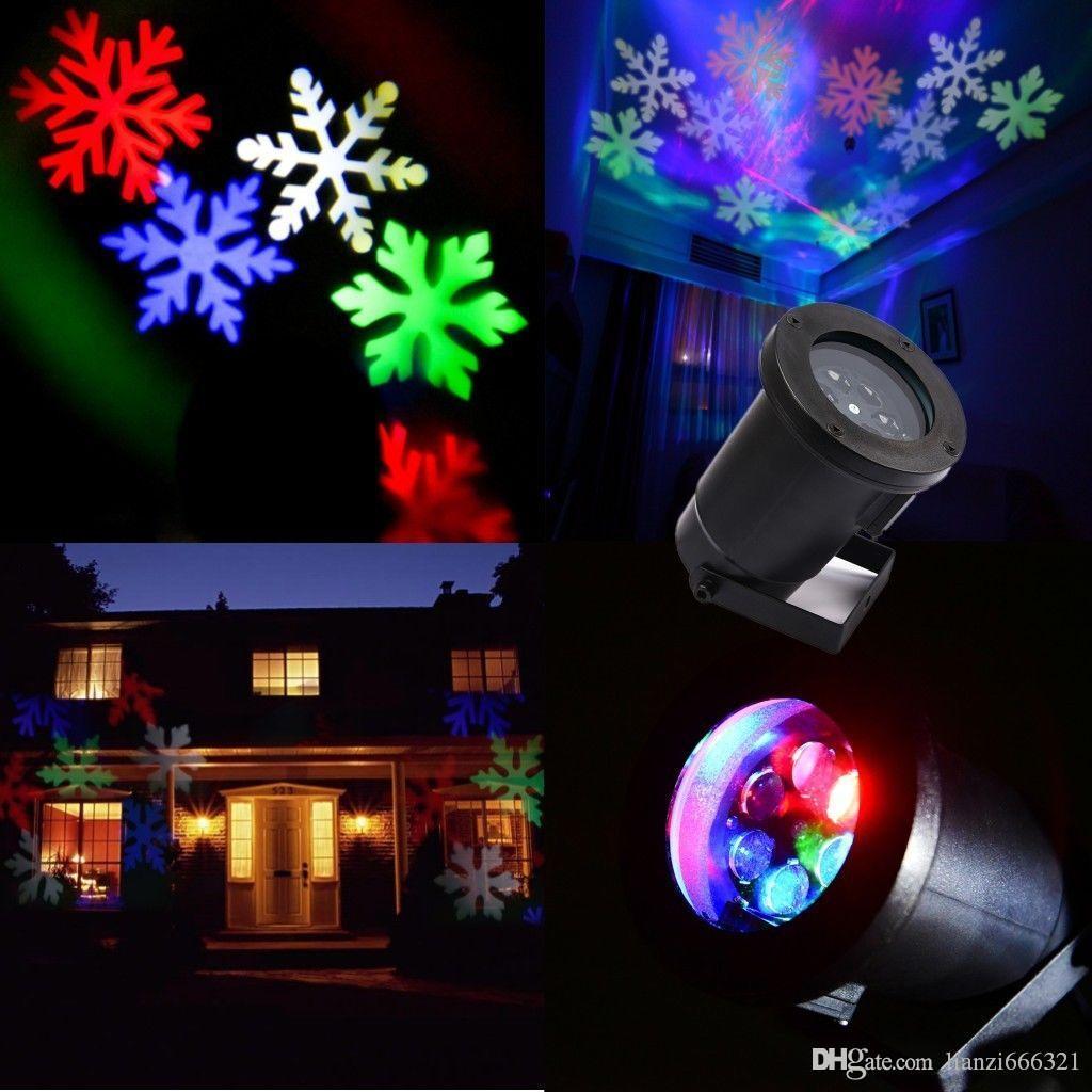Hot New Moving LED RGB Multicolore Flocons De Neige Mur Paysage Laser Projecteur Lampe Lumières Blanche Neige Scintillante Paysage Projecteur Lumières