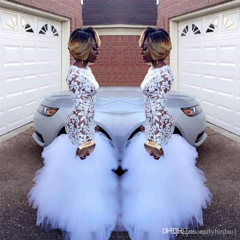 2018 afrikanische weiße Meerjungfrau Spitze Prom Kleider für schwarze Mädchen mit langen Ärmeln Rüschen Tüll bodenlangen plus Größe Abend Prom Kleider Vestidos