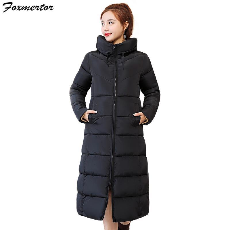 Abrigo de invierno Para Mujer Con Capucha Chaqueta Ultra Ligera Abajo 2018 Nueva Chaqueta Larga Sólida Delgada Larga Pluma Femenina Portátil Parkas