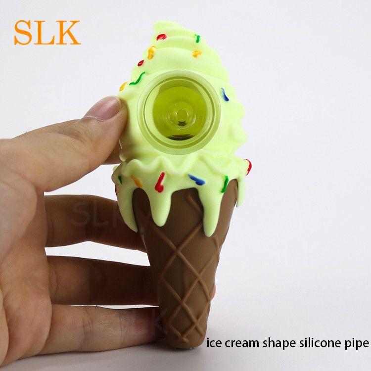 Diseño moderno silicona tubo helado hierba seca goma fumar pipas escondite vidrio pequeño tubo tazón de silicona agua bong mejor calidad