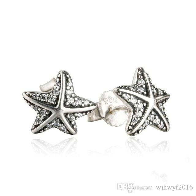 Gift box Pave set cubic zirconia star starfish earrings 925 silver studs