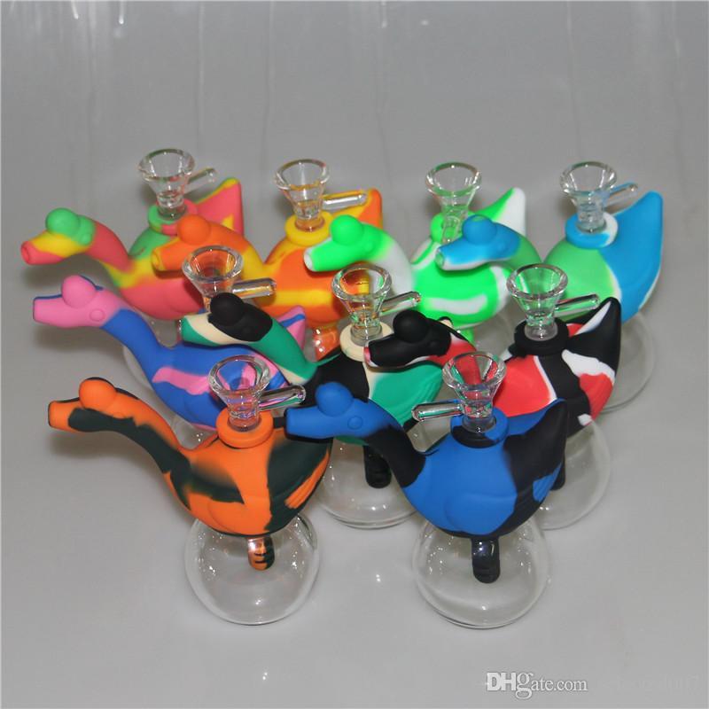 Bangs en verre de silicone narguilé portable avec tige en silicone et eau en silicone bol en verre