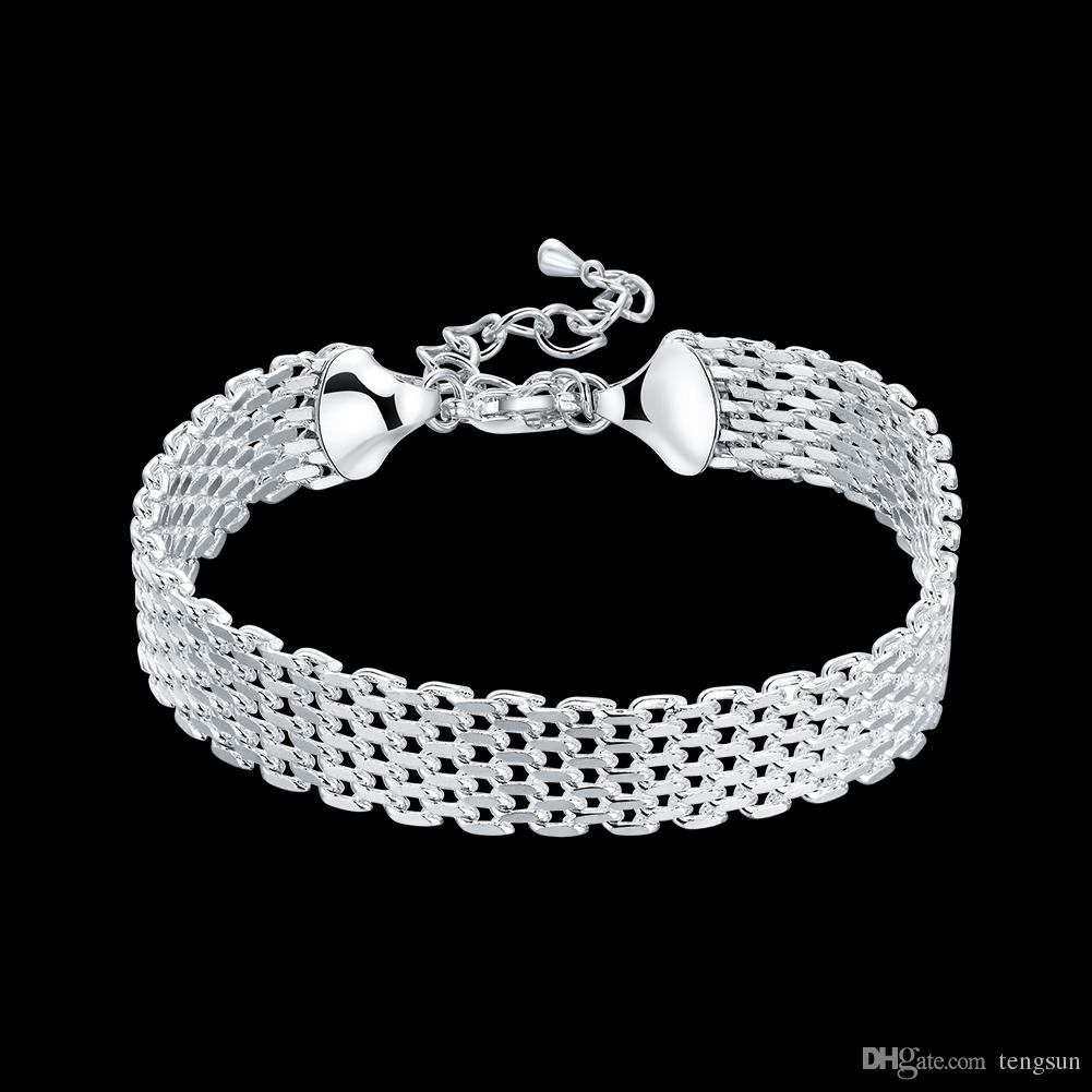 Fashion 925 Argent Plaqué Bijoux Mesh Cuff Bracelet pour femmes H563