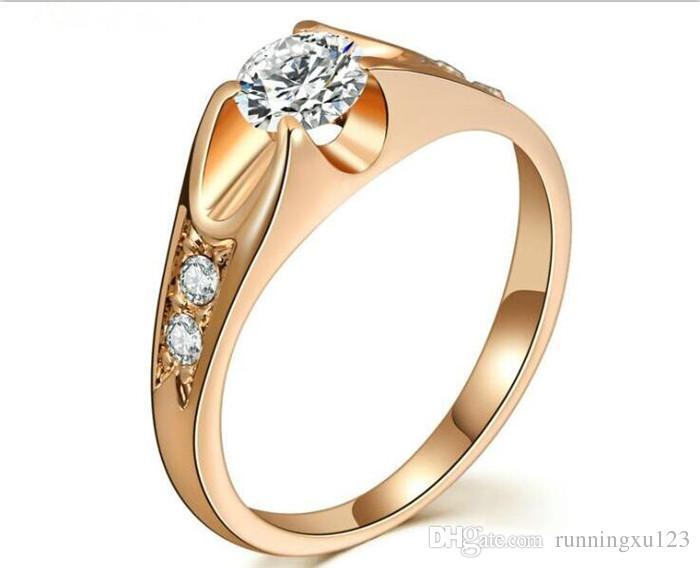 50 unids elegante CZ anillos de bodas de diamantes color plata oro rosa plateado circonio joyería para hombres y mujeres R215