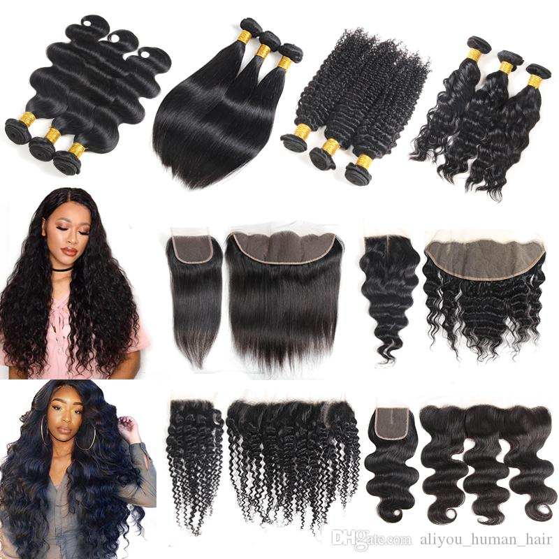 Brazilian Virgin Hair Bundles with Closures Kinky Straight Body Deep Wave Human Hair Weave with Lace Frontal Closure Cheap Hair Extensions