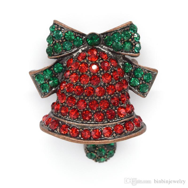 Partihandel Crystal Rhinestone Christmas Bells Pin Brosch Fashion Brosches Smycken Gift C479