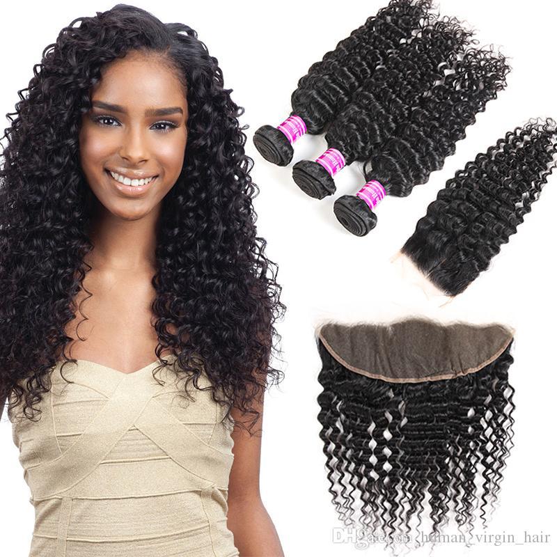 Venta al por mayor del pelo brasileño de la Virgen de la onda profunda Proveedores 3 Cierre frontal de la India mongol del Perú extensiones del cabello humano de las tramas los paquetes con encaje