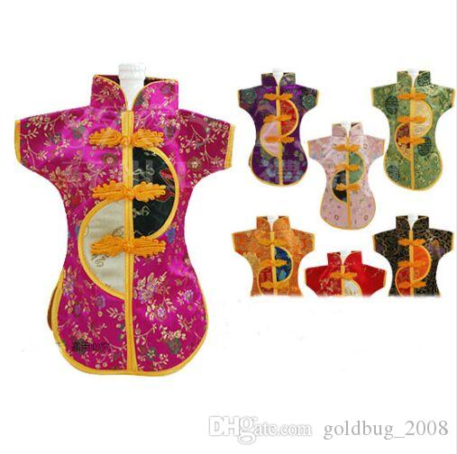 Reusable Chinese Christmas Wine Bottle Clothes Cover Decorations Silk Brocade Packaging Bag Wedding 10pcs/lot