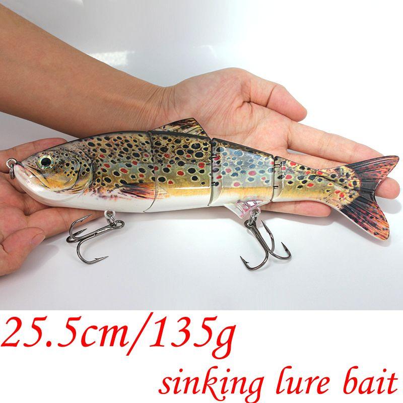 25cm 135g New Artificial Bait Big Fishing Lure 4 Segment Sinking Swimbait Crankbait Hard Bait Slow Big Fish Hooks