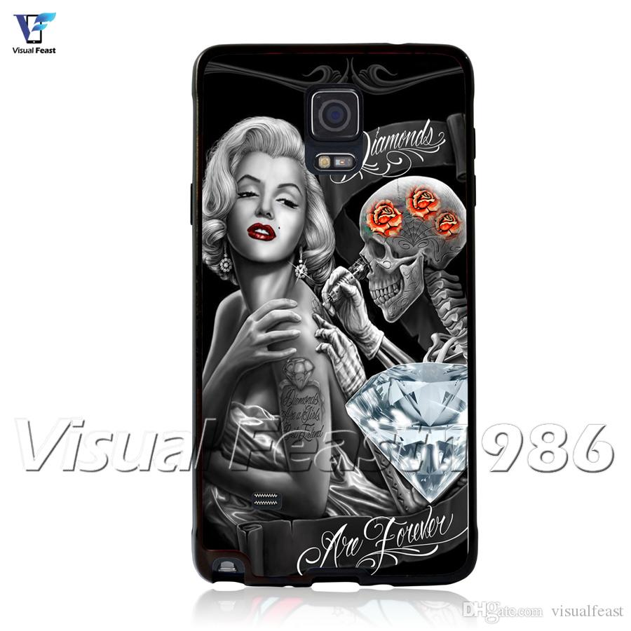 Marilyn Monroe Phone Case Tattoo Skull For S9/S8 Plus S7 Note 8 ...