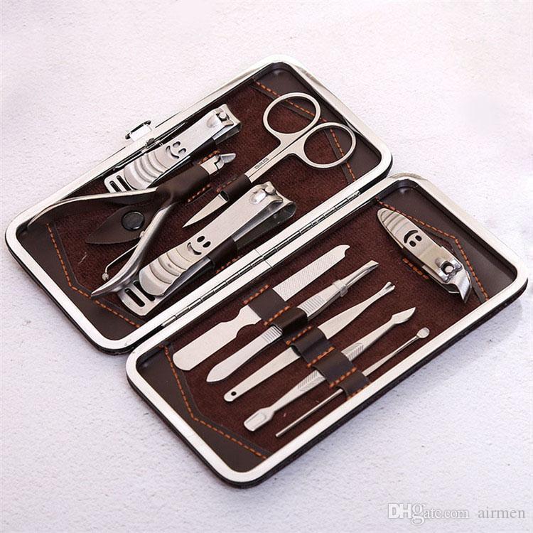 12 sztuk Manicure Set Pedicure Nożyce Knife Knife Ear Pick Nail Clipper Kit, Zestaw narzędzi do pielęgnacji paznokci ze stali nierdzewnej