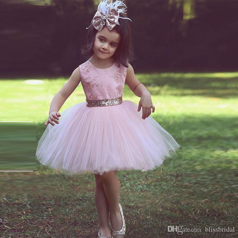Rosa skopa spets och tulle blomma flicka klänningar applique tutu tjej klänning skräddarsydda formella slitage hög kvalitet