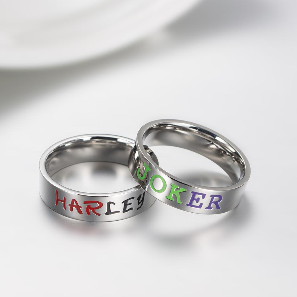 European and American movie and TV accessories, Batman suicide team clown Harley&Joker titanium steel lovers ring