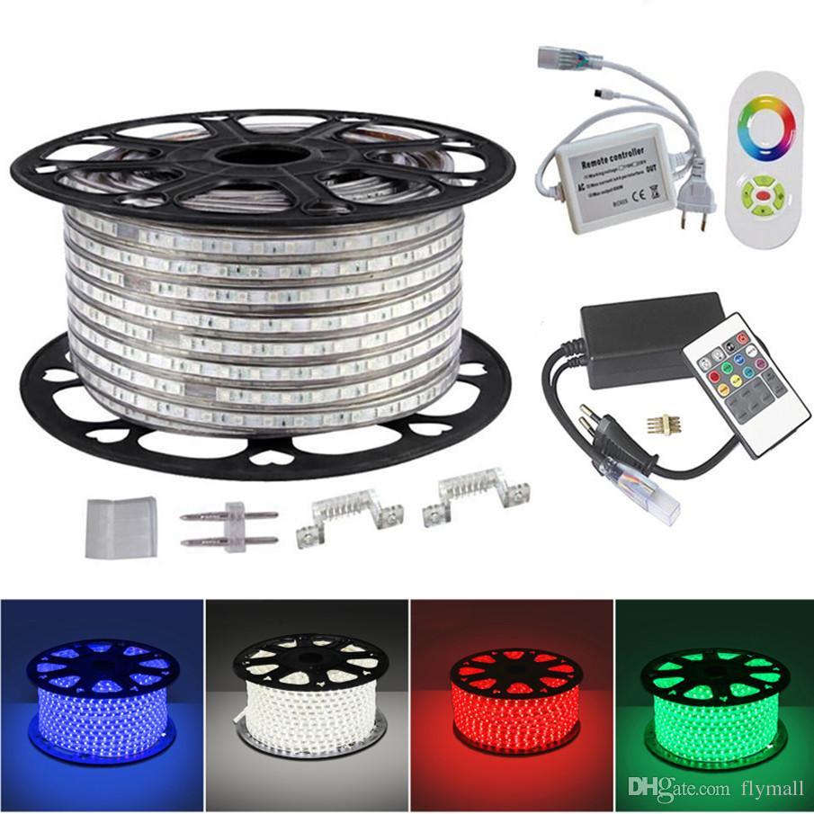 5050 RGB Luz de tira llevada 110V 220V 60led / M Impermeable Flexible LED RGB Luz de neón + Fuente de alimentación + Control remoto por infrarrojos Decoración navideña navideña