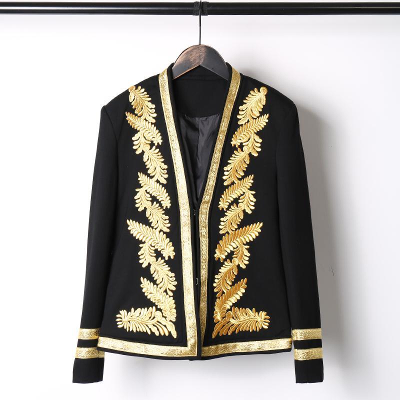 2018 Baroque Pattern Plus Size Men Jacket Korean Version Slim Embroidery Black Coat Nightclub HOST Men Singer Dancer DJ Jacket