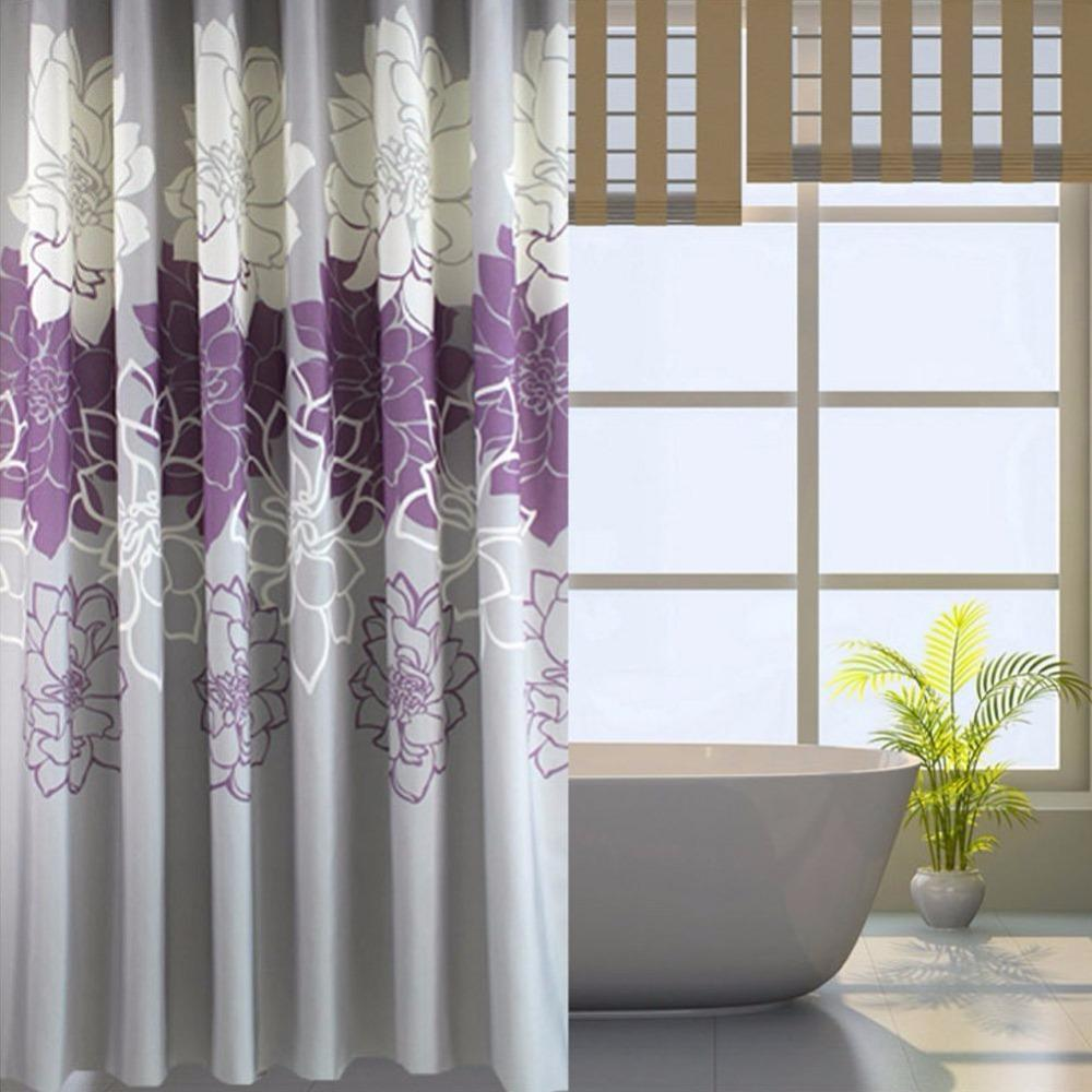 Tela impressa floral da cortina de chuveiro, cortinas impermeáveis do banheiro Não mais mildews com anéis livres, roxo / cinza