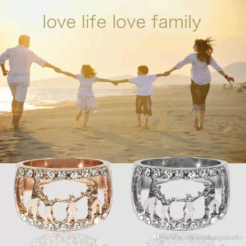 famille main dans la main grappe anneaux bagues en diamant pour maman et grand-mère cadeaux de fête des mères bijoux trois couleurs or rose or platine