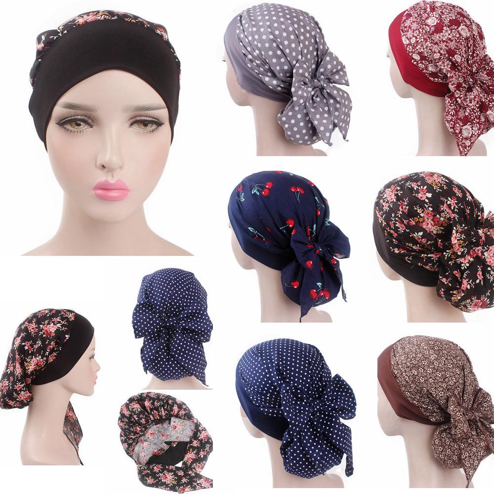 6 색 여성 꽃 프린트 헤드 스카프 플로랄 도트 Chemo Hat Turban Headwear Bandana Cancer Cap Hijab AAA696