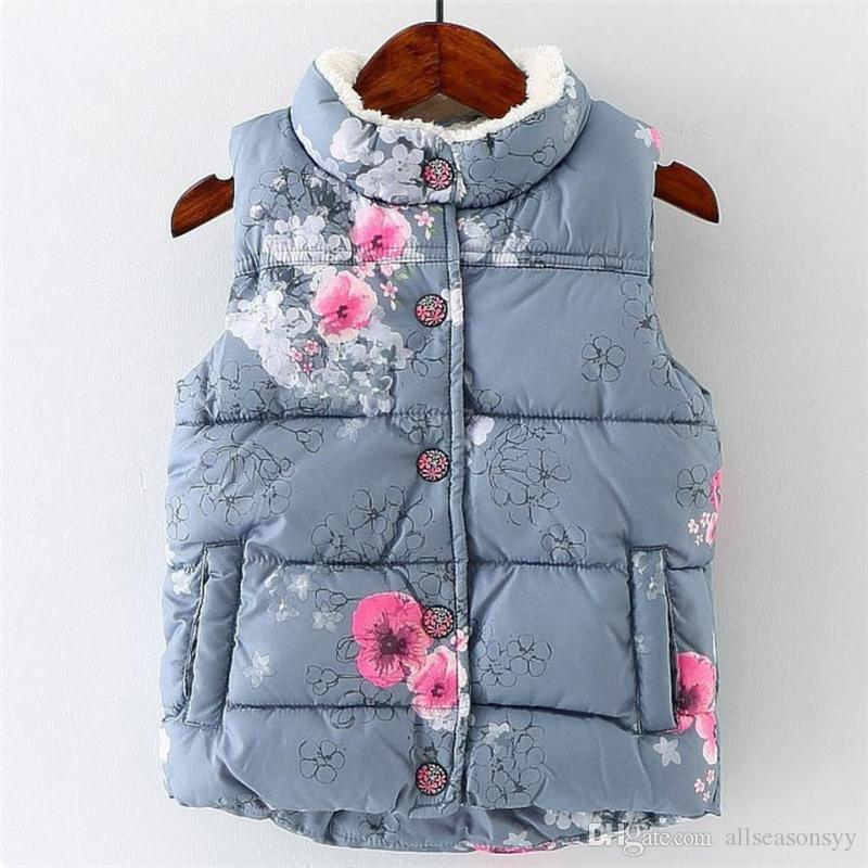 Kid Infant Girls Gilets Floral Vestes Bébé Filles Toddler Chaud Gilet Automne Hiver Vêtements Manteau