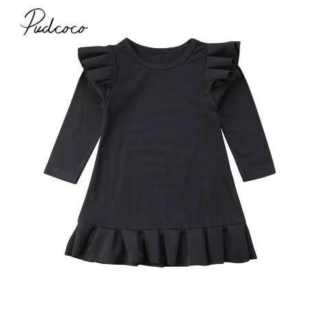 New 1-6Y gekräuselte Nettes Kleinkind-Baby-Kleid Langarm Rüschen Solid Black Knie-Länge Trompete-Kleid-Partei-Kleid