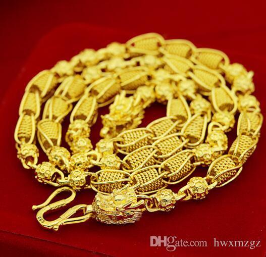 Мужское ожерелье золота Brass Позолоченных ювелирные изделия Sand Gold 14K Ажурная Передача ожерелье из бисера