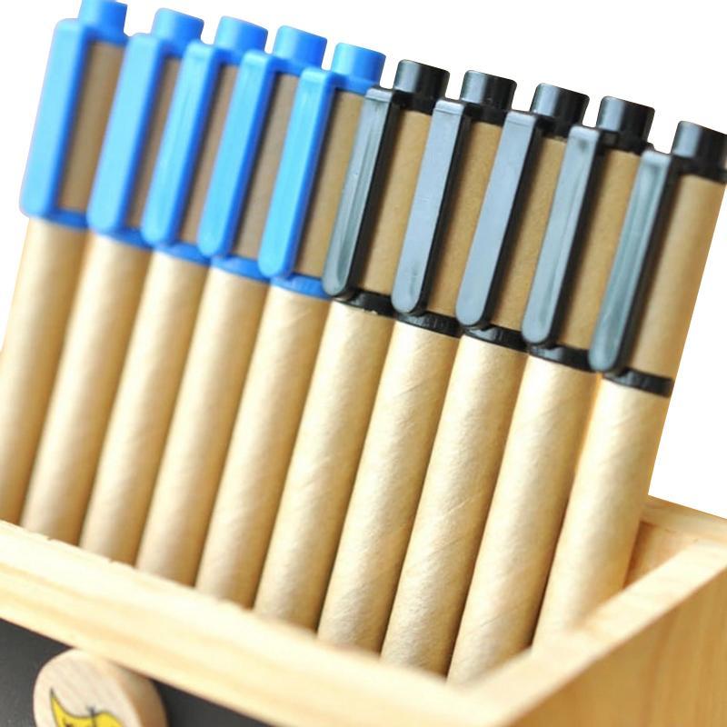 40pcs / lot Party Favors Recycler Stylo Protection de L'environnement Kraft Papier Gel Stylo Pour Étudiants Bureau Fournitures Scolaires En Gros